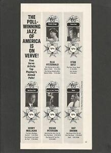 Fitzgerald,Stan Getz,Mulligan,Peterson ON VERVE RECORDS - 1963 Vintage Print Ad