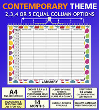 A4 Personalised Family Organiser Calendar 2018 2019 Choose 2 3 4 or 5 Columns