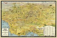 1932 Los Angeles Southern California Panoramic Sightseeing Map - 16x24