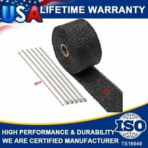 "New 2"" ROLL Header Manifold Exhaust Fiber Titanium Heat Thermal Wrap Tape+ 5 Tie"