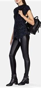 New KAREN MILLEN UK 6 Black Faux Leather Jersey Trousers Leggings Jeans PT104