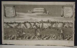 SALVADOR BRAZIL 1722 FRANCISCO COREAL UNUSUAL ANTIQUE COPPER ENGRAVED VIEW