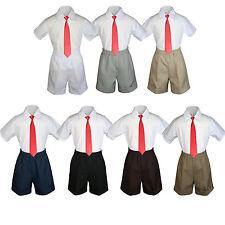3pc Baby Boy Toddler Formal Red tie, Black Brown White Navy  Khaki Shorts Set