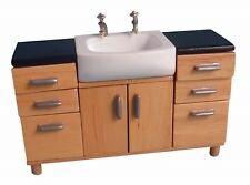 More details for dolls house miniature 1/12th scale bathroom sink unit white or lightwood