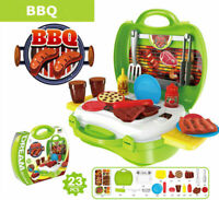 Pretend Play Toddler Children Food Cooking Kitchen Set Toy BBQ Grill For Kid Grn