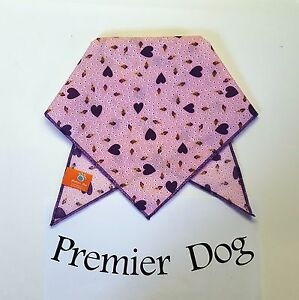 Purple Hearts & Buds  Dog Bandana / Scarf - 3 sizes to choose from!