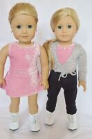 "Doll Clothes 18"" Ice Skating Pink Pants Sweater Skates Fits American Girl Dolls"