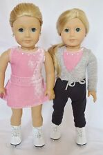 """Doll Clothes Fit AG 18"""" Ice Skating Pink Pants Sweater Skates American Girl Doll"""