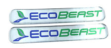 "EcoBeast, Ford, Domed Decal Emblem chrome car biker stickers 5""x 0.82"" 2pc."