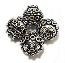 4 PCS 14MM SOLID COPPER BALI BEAD OXIDIZED STERLING SILVER PLATED B 721