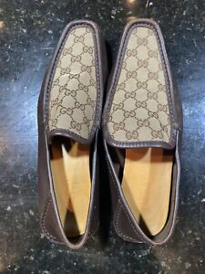 Gucci Brown Signature GG Canvas and Leather Driving Shoes. 100% Authentic