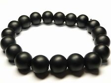 Shungite Bracelet 12mm beads from KARELIA, Russia, Ancient Healing Crystals