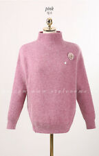 StyleOnMe_Flower Brooch High Neck Angora Knit Top_Pink_Free Size_Made in Korea