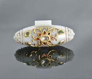 MUGHAL STYLE JADE PENDENT STUD WITH DIAMOND EMERALD RUBY 24 Kt REAL GOLD