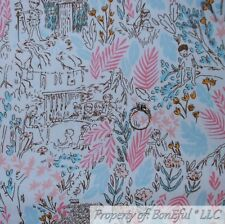 BonEful FABRIC FQ Cotton Quilt White Blue Pink Baby Boy Girl Toile Flower Scenic