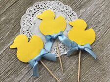 Yellow Ducky Cupcake Toppers - Set of 12 - Baby Shower Food Picks