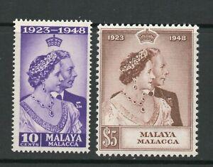 MALAYA MALACCA  SG 1-2 1948 ROYAL SILVER WEDDING PAIR MNH