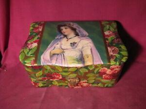 Antique Ladies Shaving Mug In Original Celluloid Covered Box w Beautiful Girl