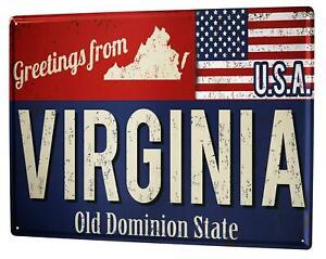 Tin Sign XXL World Trip Virginia U.S.A.