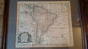 1770'S ORIGINAL ANTIQUE FRAMED MAP OF SOUTH AMERICA - THOMAS KITCHIN