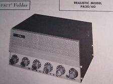 REALISTIC PA30/60  AMP AMPLIFIER PHOTOFACT