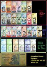 Venezuela Full Set 2 - 100,000 Bolivares, 2-500 Soberanos plus 6 newest + Bonus