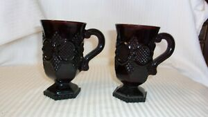 "Vintage Pair of Deep Red Burgundy Embossed Glass Irish Coffee Mugs 5"" Tall"
