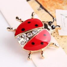 Fashion Animal Cartoon Ladybug Rhinestone Crystal Brooch Pin Women Jewelry 2018