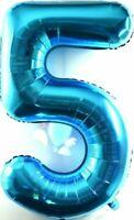 XXL 1 Mètre Énorme Helium Nombre 5 Ballon Feuille Bébé Bleu Anniversaire 100cm