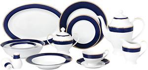 Lorren Home Trends Midnight-57 57 Piece Dinnerware Set-Bone China Service for 8