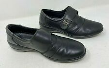 Loretta Black Real Leather Hook & Loop Work Business Shoes Rose Stud Smart 7 UK