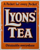 Lyons Tea VINTAGE ENAMEL METAL TIN SIGN WALL PLAQUE