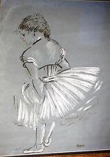 Edgar DEGAS Ballerina Study Fine Chalk Drawing w Pastel, Print 1960's