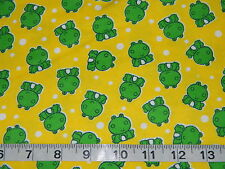 LITTLE FROGGY YELLOW COTTON FLANNEL FABRIC Frog Frogs  1/2 YARD