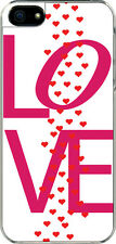 iPhone 5 Pink Love Text with Raining Hearts Designed Sticker on Hard Case Cover