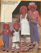 Cute Raggedy Ann and Andy Costume + Yarn Wig Sewing Pattern Child Toddler 6 - 8