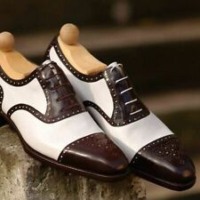 Men's Handmade Two Tone Brown & White Real Leather Lace Up Cap Toe Fine Shoes