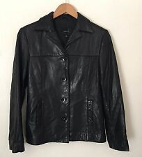 Anonymous Womens Black Leather Jacket Size Small S Coat John Carlisle