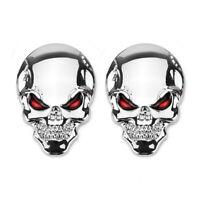2x  Metall Skull Totenkopf Logo Sticker Emblem Badge Aufkleber Auto Chrom 3D Neu