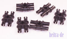 LEGO Technik - 6 Doppel - Verbinder schwarz / 4xPin 1xKreuzloch / 32138 NEUWARE