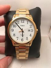 Timex TW2R23600 Men's Gold Tone Steel Easy Reader White Indiglo Dial Date R9