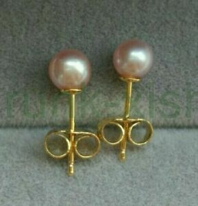 Refinement AAA 6-7mm Real South Sea Purple Round Pearl Earrings 14k Gold p Stud
