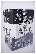 Aufbewahrungsbox Blumen - 3er Set - Barock Box Stapelbox Dekobox Geschenkbox