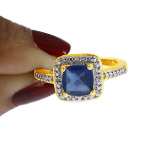 2.02 Princess Blue Sapphire 14K Yellow Gold Over Halo Ring Free & Fast Shipping