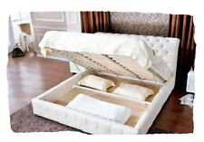 Sadie White or Black Bonded Leather KING Bed with Gas Lift Storage - BRAND NEW