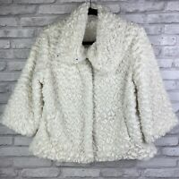 White Faux Fur Cape Capelet Jacket Size Med Swing Fit Lined Adjustable Collar