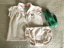 Lacoste Baby Girl Pink Top With Collar Set And Crocodile Toy Size 1 12 Months