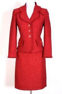 ST.JOHN Womens Suit Knit Tweed Red Fringed Trim Jacket & NWT Skirt Sz 4