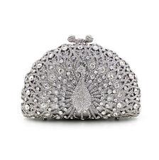 Silver Peacock Handmade Austria Crystal Wedding Bridal Clutch Evening Bag