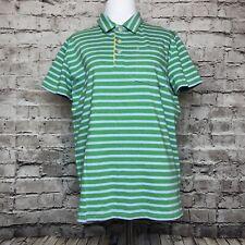 Boys Mini Boden Green Striped Short Sleeve Polo Shirt Size 13 - 14Y